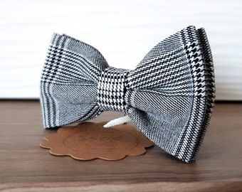 Prince of Galles bow tie black and white, men bow tie od boy bow tie, scottish fabric, gift for him her, trend 2018, tartan cloth