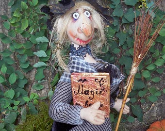 "OOAK art doll "" Witch Brungilda"" Handmade doll OOAK doll Art doll Collectible doll Interior doll witch primitive folk art"