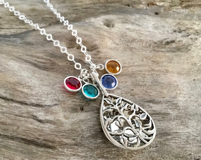 Mother Necklace with Birthstones | Personalized Tree locket with Birthstones | Name Locket | Sterling Silver | Christmas Gift for Mom