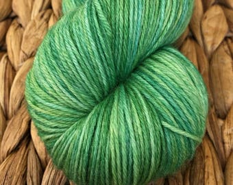 Lime Spider hand dyed sock yarn