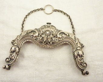Antique 1900 Gorham Sterling Victorian Rococo Purse Handle with Chain