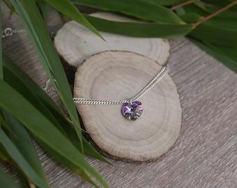 Purple Heart Swarovski Crystal Necklace