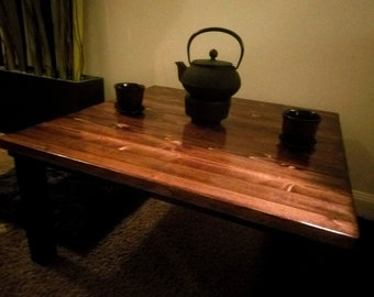 Handcrafted Chabudai Tea Table with solid top - made to order - 3 dimensions available