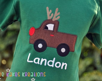 Reindeer Shirts for Boys / Reindeer Shirt / Personalized Reindeer Shirt / Reindeer Truck / First Christmas Shirt / Christmas Shirt