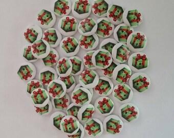 Wooden Christmas Present Buttons x 8