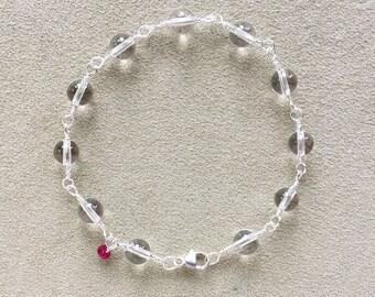 Quartz, Ruby Bracelet, Argentium Sterling Silver Wire Wrapped, Beaded Bracelet, Natural Gemstones, Meditation Bracelet, Yoga gift