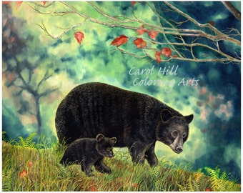 Mother and Baby Bear--Black bears in the woods of Wisconsin- a print from an original painting-8x10 instant download-by Carol Hill