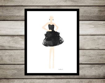 Fashion illustration, fashion sketch, Black dress, fashion watercolor, Gown, fashion, painting, fashion drawing watercolor poster model