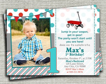 Little Red Wagon 1st Birthday Invitations, Red Wagon Birthday Invitation, Little Red Wagon, Wagon First Birthday, Little Red Wagon Party