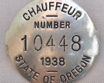 1938 Oregon Chauffeurs Badge License