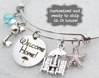 DVC Beach Club - Welcome Home - Vacation Club - DISNEY Inspired, Disney Resort, Custom Name Charm Bracelet Adjustable Bangle, Mickey Key