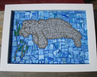 Mosaic Manatee Wall Decor Polymer Clay Manatee Picture Blue Sea Creature Ocean Picture Beach Sea Cow