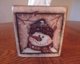 Snowman with Nest - original handmade wooden tissue box cover