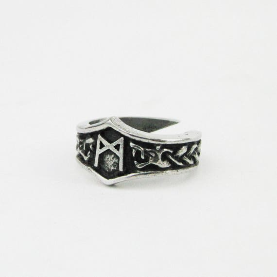Mannaz viking rune lettre m runique bague r glable - Rune viking traduction ...