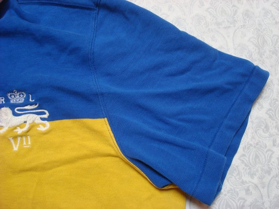 Vintage Retro Men's Polo Ralph Lauren Polo Shirt Yellow Blue Stripe Lion Crest Cotton Pique Short Sleeve XXL