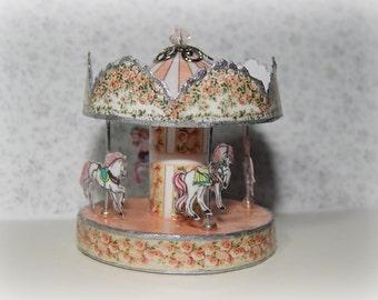 Carousel horses miniature, dollhouse 1:12 scale