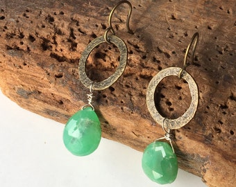 Green Chrysoprase Briolette Dangle Earrings, Green Earrings, Antiqued Brass Hoops, Hoop Earrings, Simple Earrings, Etsy, Etsy Jewelry