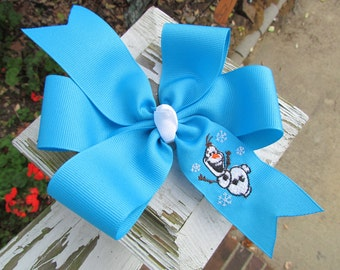 Monogrammed Embroidered Frozen Olaf Hair Bow