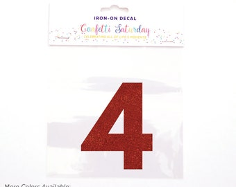Pink Glitter 4 Decal Fourth 4th Birthday Shirt Iron On Transfer Red Four | GLITTER