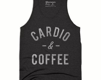 10% OFF SALE - Coffee Tank Top - Cardio and Coffee Tank - Running Tank Top - Running Shirt - Funny Work Out Tank - But First Coffee