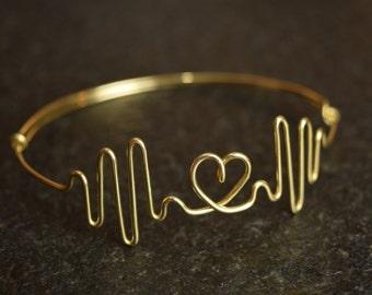 Heartbeat Bracelet, Heart Rate, Heartbeat bangle, Friendship Bracelet, Heart Bangle Bracelet, Friendship Cuff, Christmas Bracelet