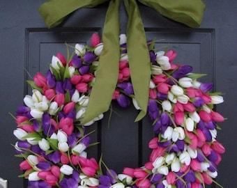 SPRING WREATH SALE Original Tulip Spring Wreath with Ribbon, Spring Wreath, Door Wreath, Spring Decor,  24 inch Easter Wreath, Spring Decora