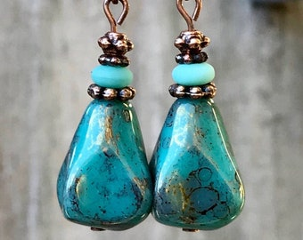 Turquoise Copper Earrings, Boho Jewelry, Bohemian Jewelry, Boho Earrings, Bohemian Earrings, Rustic Earrings, Statement Earrings, for her