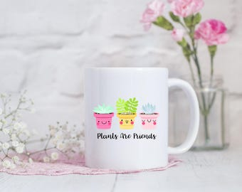 Cute gift for friend etsy easter gift plants are friends mug best friend gift vegan gift idea negle Image collections