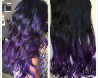 One Piece Dip dye Clip in Hair extensions Ombre Natural black to purple