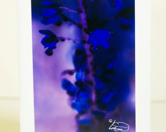 Vibrant blue flowers, purple background, floral, greeting card, vertical, handmade, blank