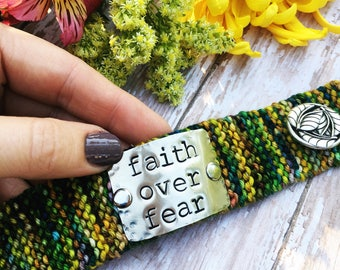 Faith Over Fear Scripture Bracelet, Custom Hand Stamped Cuff, Personalized Jewelry, Gift for Mom