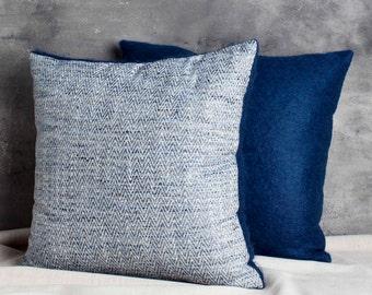Blue Herringbone and Blue Mohair Pillows