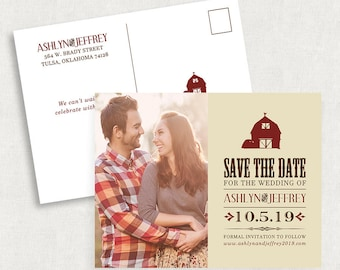 Barn Photo Save the Date Postcards, Rustic Photo Save the Date Postcards, Barn Save the Dates with Photo, Printable Save the Dates, DIY, PDF