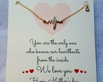 Handmade Mothers Day Card with Heartbeat Necklace