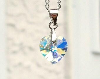 "Iridescent Swarovski Crystal Heart Charm Pendant Necklace 20"""