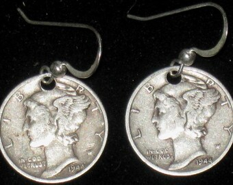 Authetic Vintage Sterling Silver  Coin  Mercury Liberty Dime Earrings