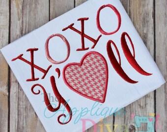 Valentine's Day XOXO Y'all Digital Embroidery Design Machine Applique