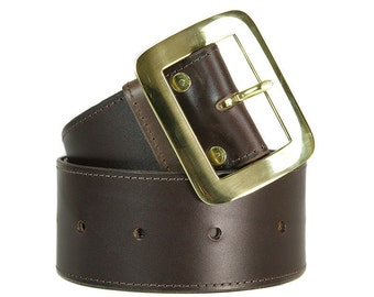 Brown leather belt, extra wide, brown, handmade, Melbourne, Australia, brass hardware, wide belt, thick belt, leather, chunky.