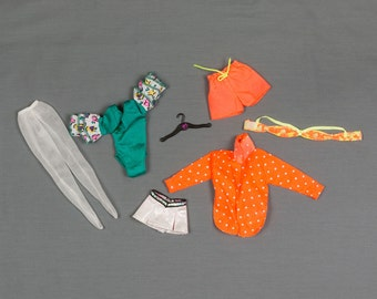 Barbie fashion clothes 7 pieces, Sheer tights, Body suit/Ruffled sleeves, Mini skirt with attached panties, Beach jackets, bra / shorts
