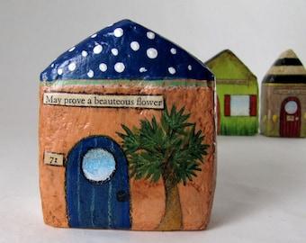 Paper Mache Art Sculpture Chubby Little House Number 71 - May prove a beauteous flower