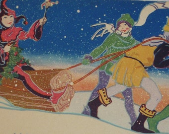 Vibrant Art Deco Vintage Christmas Card With Yule Log and Merrymakers