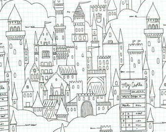 Magic by Sarah Jane for Michael Miller - Castle Plans - White - DC 7196 - 1/2 Yard Cotton Quilt Fabric 716