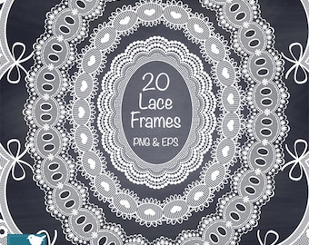 White Lace Frames, Digital Lace Clip Art, Wedding Lace Borders, Digital Frames, White Lace Oval Frame - Instant Download