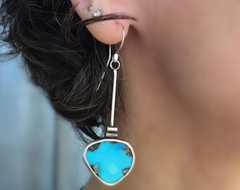 RESERVED, Genuine Turquoise Earrings, Drop Turquoise Earrings, Handmade Sterling Silver Earrings.