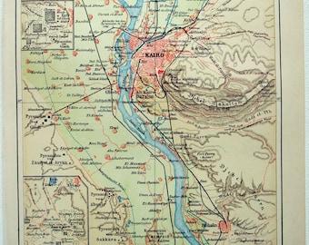 Original 1905 Map of Cairo & Vicinity by Meyers. Antique Original.