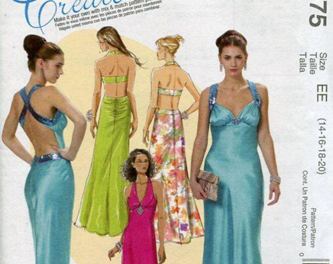 McCall's 6075 Free Us Ship Sexy Back Dress Evening Length Halter Gown Size 14-20 Bust 29 30 31 32 34 36 38 40 42 Sewing Pattern