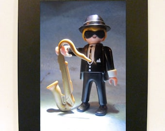 """Framed Saxophone Player Toy Photograph 4"""" x 6"""" Playmobil"""