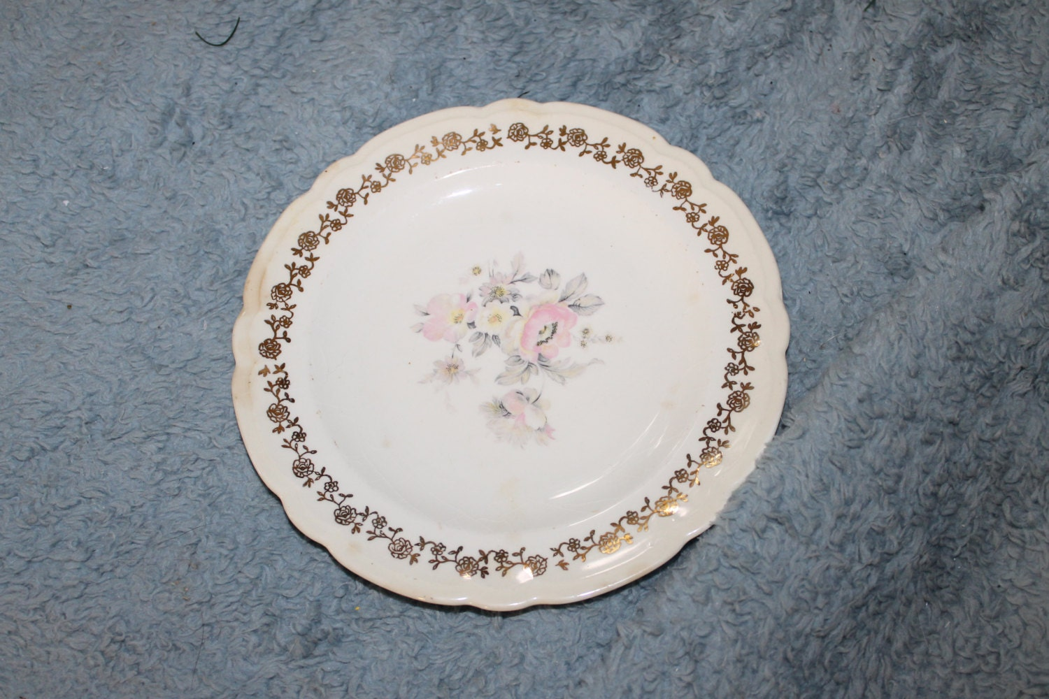 🔎zoom & Vintage one Lunch Plate French Saxon China Union Made Made