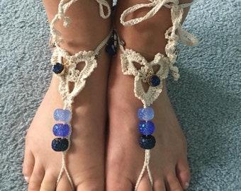 Beaded Barefoot Sandals / Foot Thongs