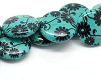 1 blue pattern 3 flower 25 mm stone puck bead